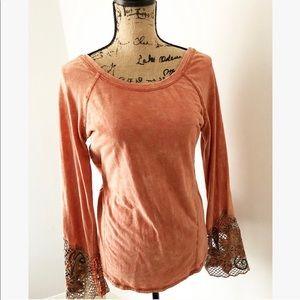 Buckle Pumpkin Bell- Sleeve Crochet Top